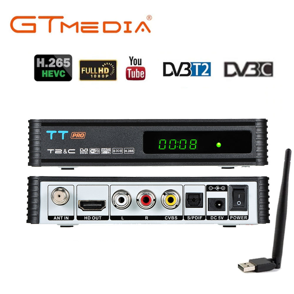Digital Satellite DVB-t2 USB TV Tick Tuner With Antenna Remote HD TV Receiver For DVB-T2/DVB-C USB TV Stick DVBT2 TT Pro Decoder