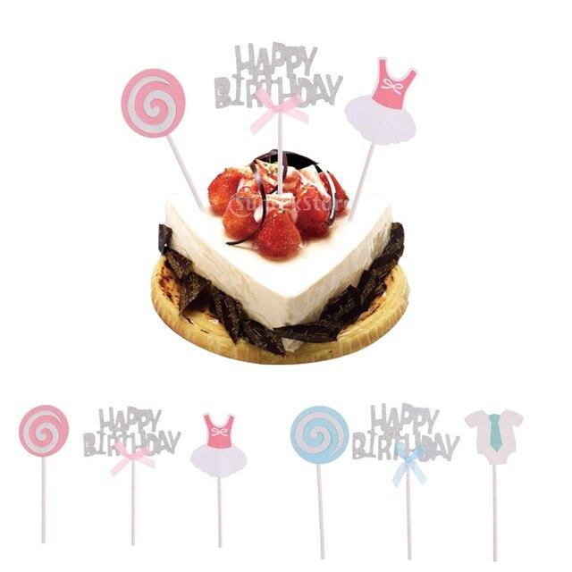 3x Glitter Silver Happy Birthday Cake Topper Picks Lollipop Baby