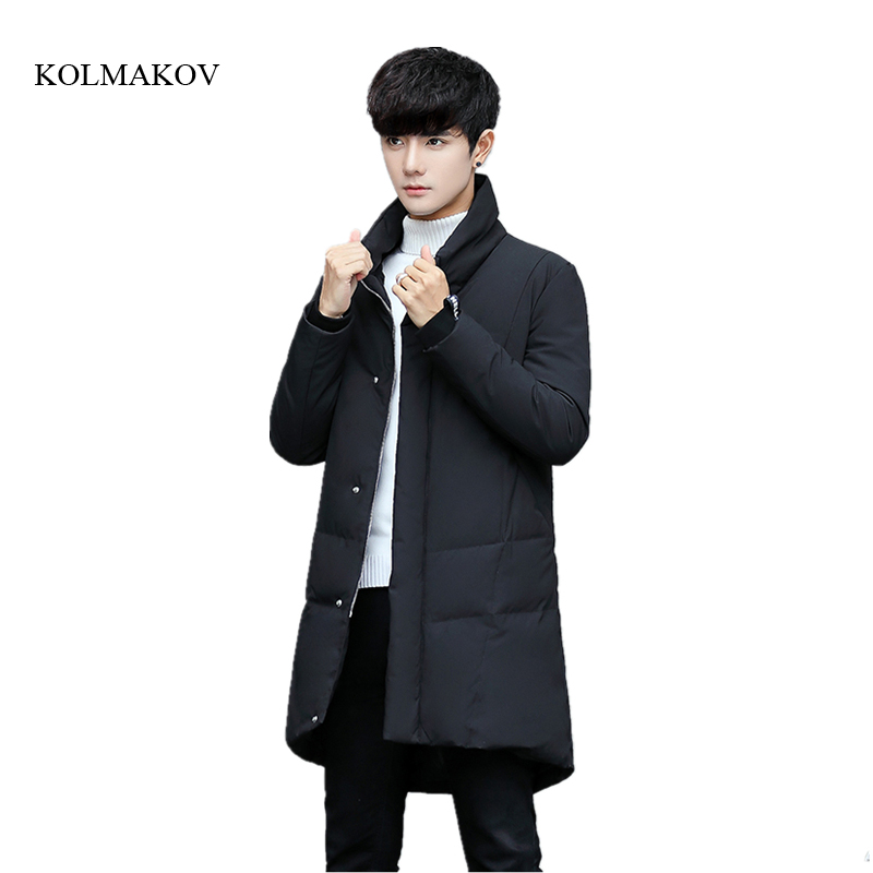 New winter style men boutique long down coats business casual warm stand collar solid trench coat mens zipper casual coat M-3XL