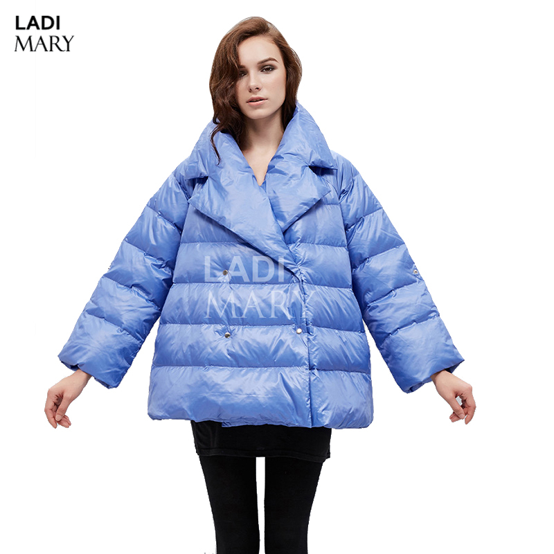 LADIMARY Winter Bat Sleeved Overcoat Ladies 90% White Eiderdown Leisure Suit Collar Double Breasted A Short Down Jackets Y15109