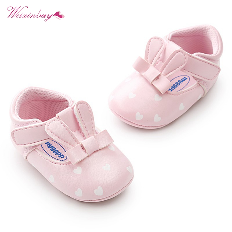 WEIXINBUY Newbron Baby Girl Shoes Spring&Autumn Cute Infant PU Leather Soft Soled Princess Shoes First Walkers 0-18M