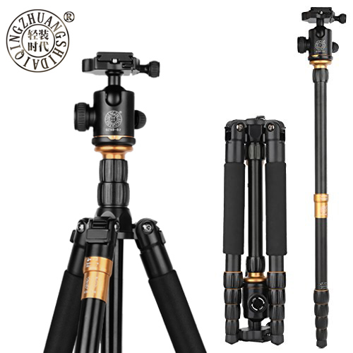 QZSD Q666 Pro QZSD 02 Professional Photographic Portable Tripod & Monopod Set For Digital SLR Camera Only 35cm Load Bearing 15Kg-in Tripods from Consumer Electronics    1