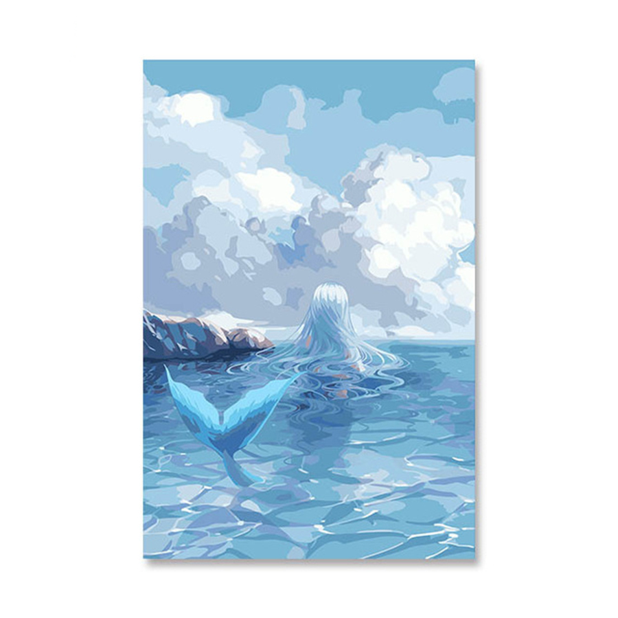 US $9 0 OFF Putri Duyung Permainan Anime Kartun Pemandangan Laut Minyak Lukisan Dengan Angka Digital Diy Gambar Mewarnai Nomor Di Atas Kanvas Unik