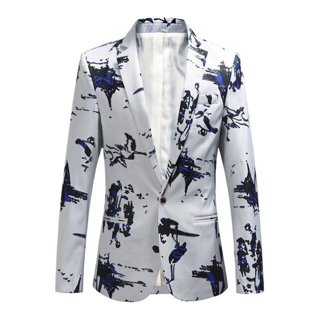 בתוספת גודל 5XL 6XL אופנה גברים Slim fit מקרית טרייל גברים הדפסת חליפות מעיל בגדי גבר לבן חיל הים חדש יין אדום 2018 אביב