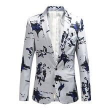 9d556ce5511718 Plus größe 5XL 6XL Mode Männer Slim fit Beiläufige blazer männer druck  anzüge mantel mann kleidung Weiß Navy Neue Wein rot 2018 .