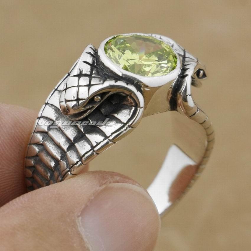 LINSION Apple Green CZ Stone 925 Sterling Silver King Cobra Snake Ring Fashion Biker Rock Punk Style 9K009 US Size 6.5 tp 13 стоимость