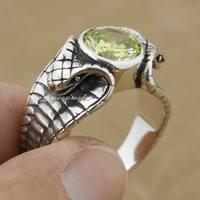 Linsion Apple зеленый камень cz 925 серебро King Cobra Snake кольцо Модные байкер рок в стиле панк 9k009 нам Размеры 6.5 TP 13