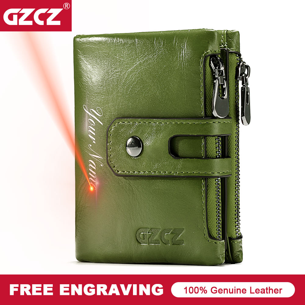 Men Wallet Green Genuine-Leather Women Card-Holder Pocket Coin-Purse Hasp-Design New-Fashion