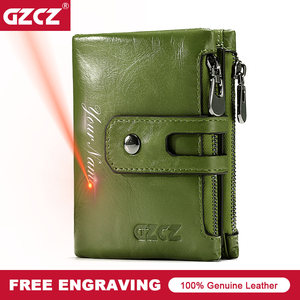 Image 1 - Short Wallets Genuine Leather Women Men Wallet New Fashion Coin Purse Zipper&Hasp Design Brand With Card Holder Pocket Green Red