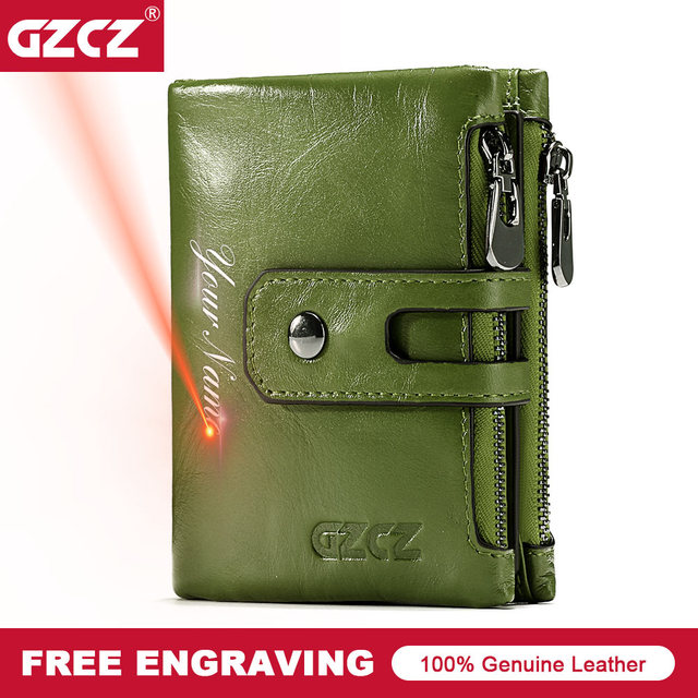 Short Wallets Genuine Leather Women Men Wallet New Fashion Coin Purse Zipper&Hasp Design Brand With Card Holder Pocket Green Red