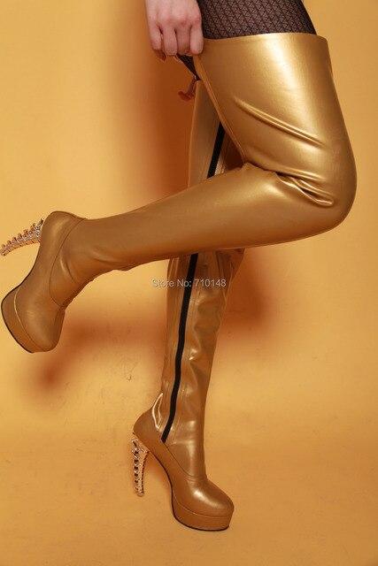 Latex Stiefel, runde Kappe Gummi Oberschenkel hohe Stiefel, über die ...