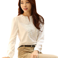 Spring Autumn White Blouse Chiffon Shirt Lace Crochet Stand Collar Puff Sleeve Slim Tops Plus Size
