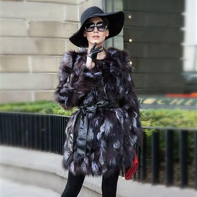 Pieles de animales sarcar 2017 moda Piel auténtica abrigo mujeres invierno  Silver Fox Pieles de animales ntrual cuero genuino barato zorro Pieles de  ... c74a0cf85ed