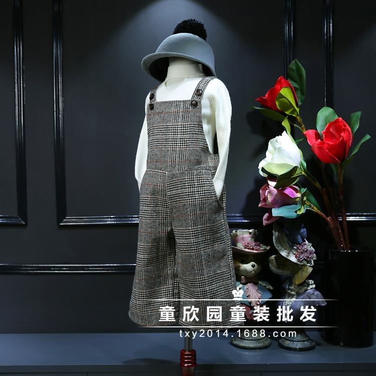South Korea s 2016 winter children Korea smell diamond color wool strap wide leg pants free