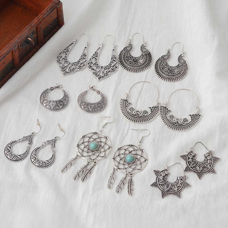 זהב כסף מתכת להתנדנד עגילי בציר גילוף אתני עגילים לנשים הולו drop עגילי מסיבת מתנות תכשיטים הסיטוניים