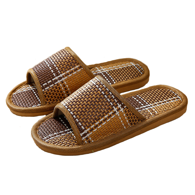 2fd98b46384e Men   Women Sandals And Slippers Rattan Straw Mat Non slip Indoor Wood  Floor Slippers Lovers Slippers Women Home Reception Shoes-in Slippers from  Shoes on ...