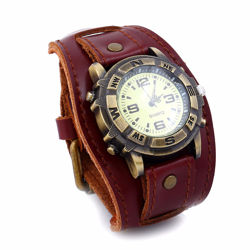 Men Women Bracelet Watch Punk Vintage Cow Leahter Alloy Wristwatch Casual Quartz Watches For Couple Gift TT@88