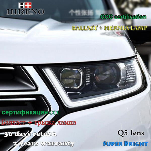 Hireno Car Styling Headlamp For   Ford Edge Headlight Assembly Led Drl Angel Lens Double Beam Hid Xenon Pcs In Car Light Assembly From Automobiles