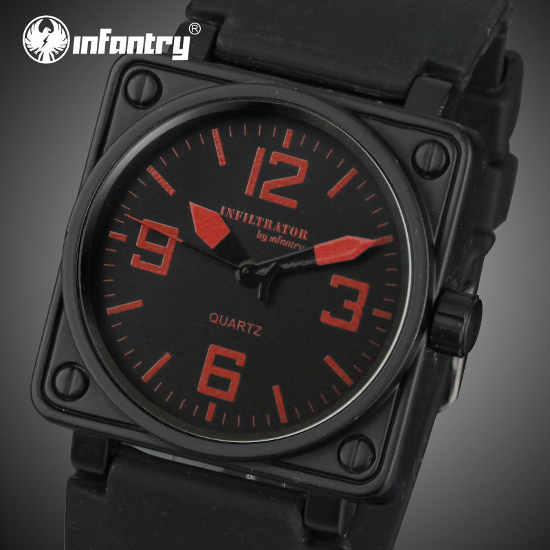 INFANTRY Mens Sports Watches Square Face Quartz Watches Rubber Strap Aviator Military Clocks for Male 2016