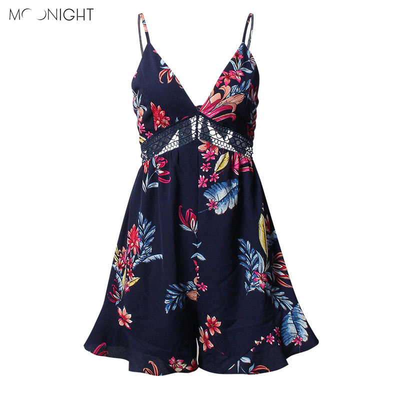 MOONGIHTSexy Women Jumpsuit Rompers Bohemian Floral Print Plunge Spaghetti Strap Rompers Jumpsuits Summer Women Beach Playsuits
