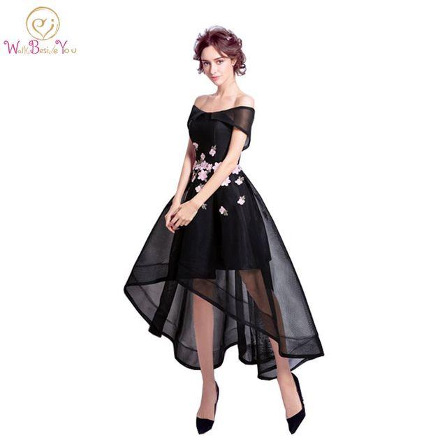 Ходить рядом с вами короткое спереди и длинное сзади Выпускные платья серый цвета: черный, красный, розовый с цветочным принтом вечерние платья с плеча Вечерние платья