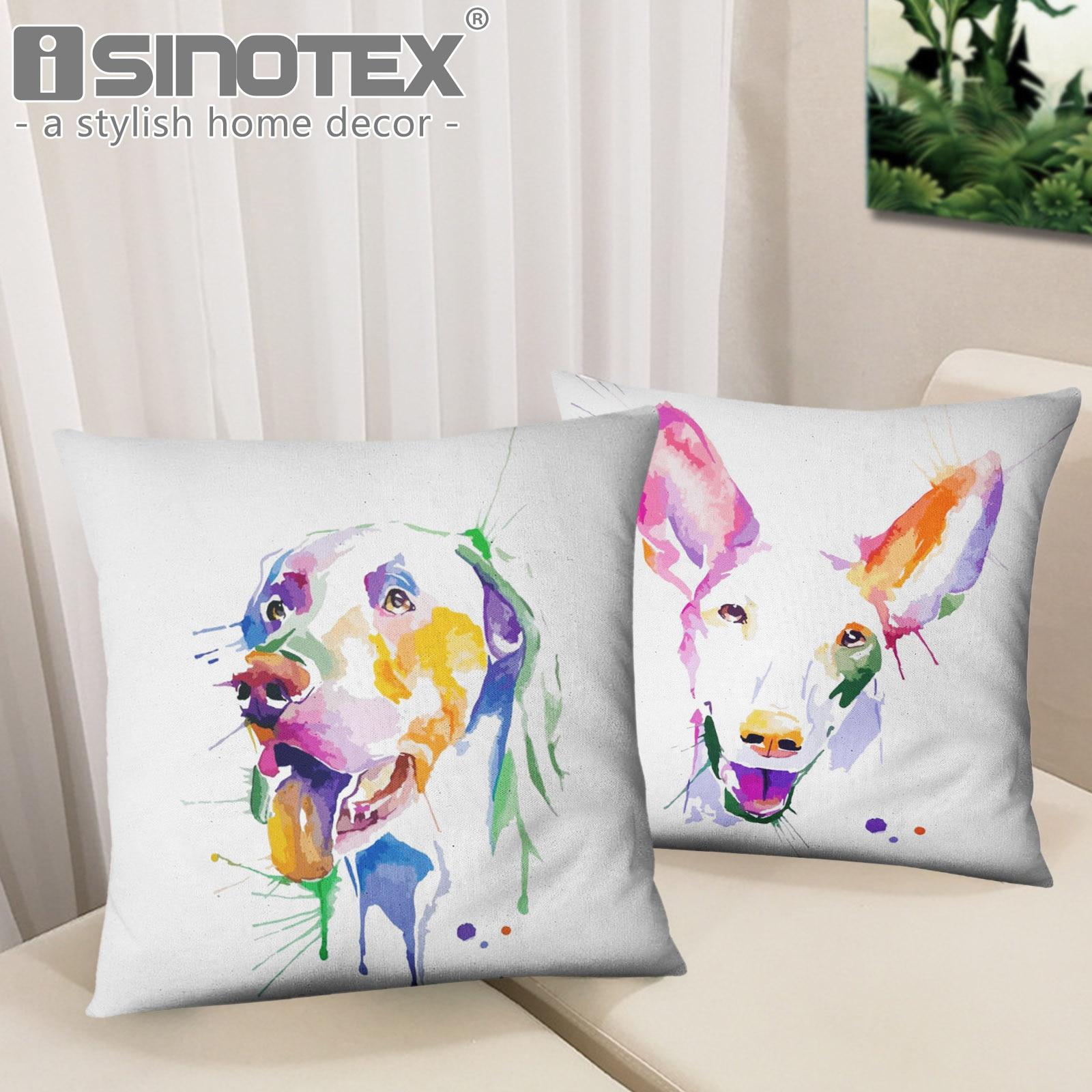 d299a5437 Pintura Estilo Cachorro Cão Bull Terrier Schnauzer Impresso Lance Capa de Almofada  Fronha Crianças Cama Sala Home Da Decoração Da Arte