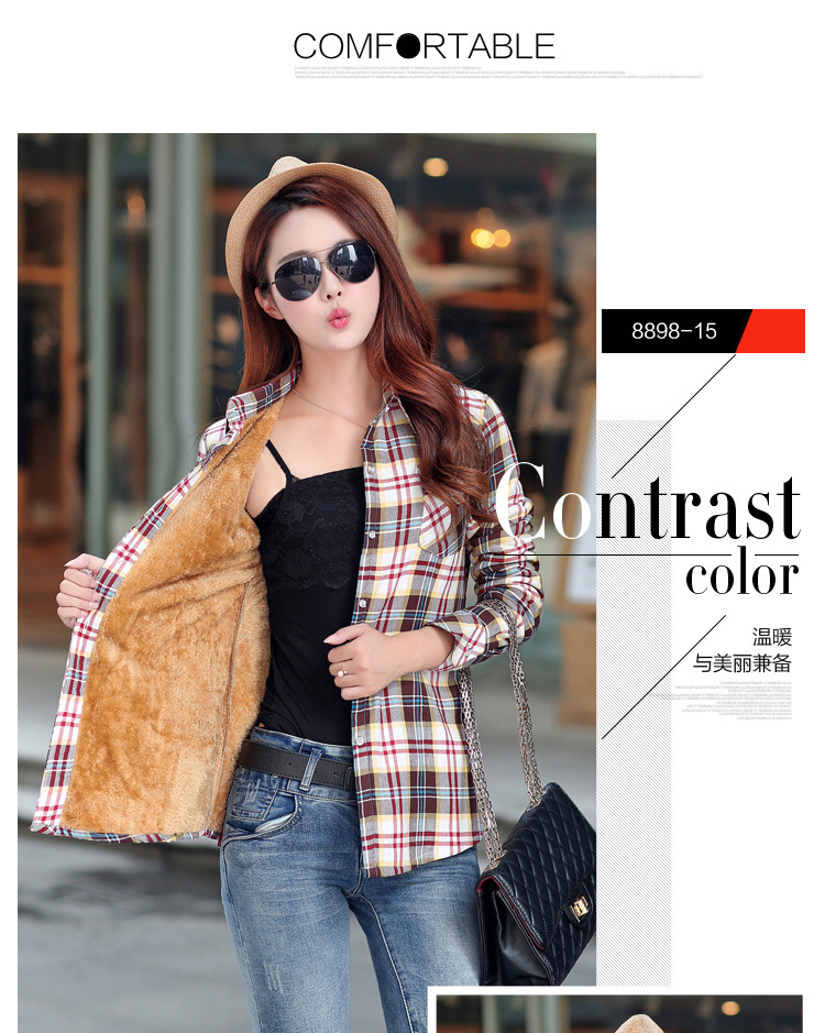 19 Brand New Winter Warm Women Velvet Thicker Jacket Plaid Shirt Style Coat Female College Style Casual Jacket Outerwear 30