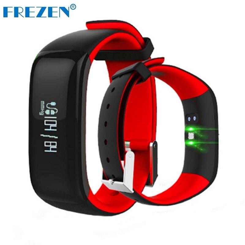 FREZEN P1 Smart Bracelet band Bluetooth Heart Rate Blood Pressure Monitor Wristband Waterproof Smartband for IOS