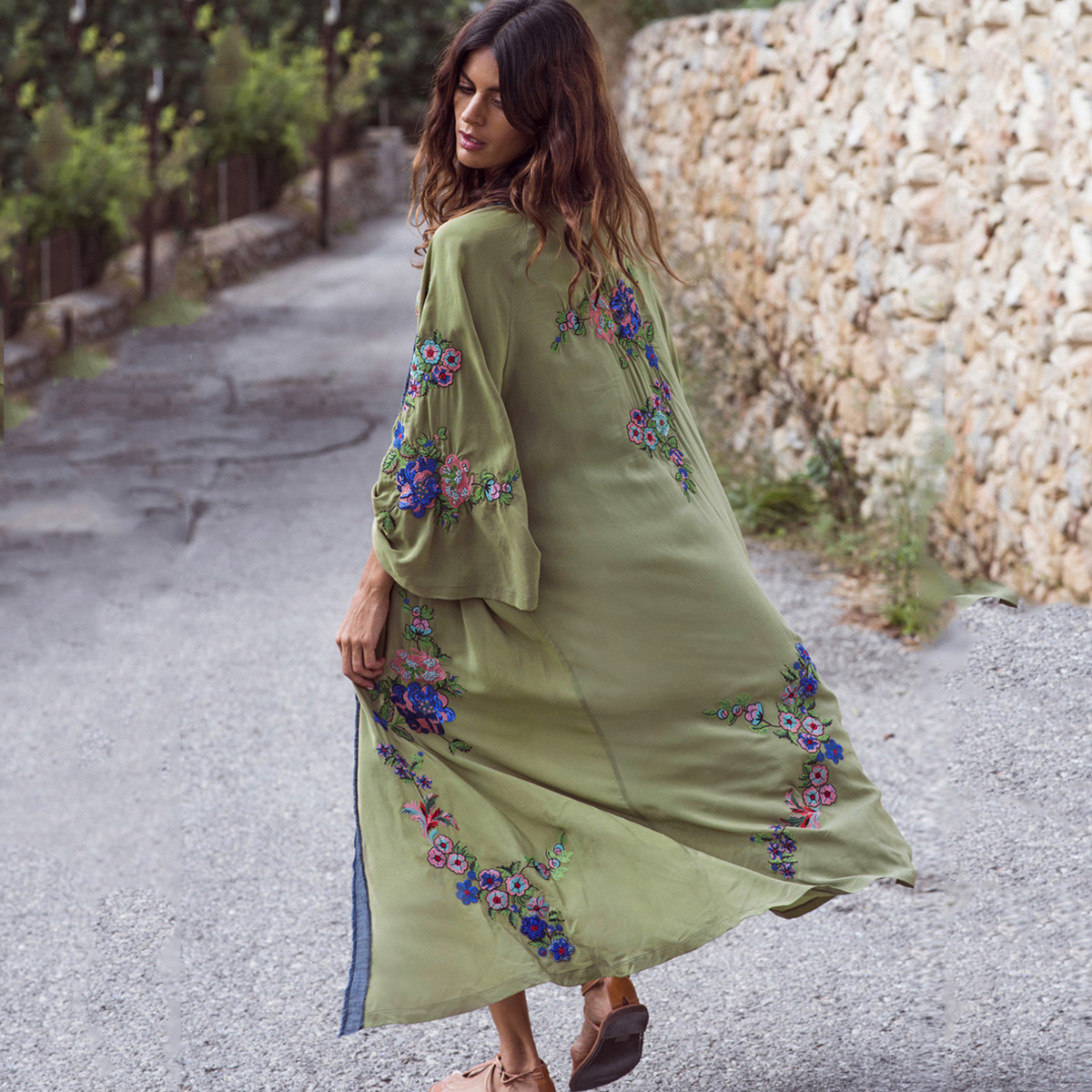 Jastie 2019 Spring Summer Cardigan Jacket Boho Floral Embroidery Shirt Top Casual Beach Long Cardigans Long