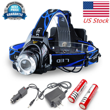 USA shipping CREE XML T6 LED Headlight Headlamp Torch Flashlight 3 Modes 6000lm 2 x Rechargeable 18650 Battery Purple