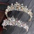 Роскошные Розовое Золото перл свадебные венцы тиара ручной работы невесты оголовье кристалл свадебный диадема королевы корона свадебные аксессуары для волос