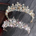 Luxo Rosa de Ouro pérola nupcial coroas artesanal tiara diadema tiara de cristal do casamento da noiva acessórios do cabelo do casamento da coroa da rainha