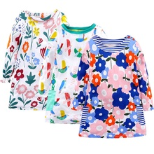 2019 Dress For Girls Toddler Kids Baby Girl Flower Print Clothes Long Sleeve Party Princess Dresses Cotton O-Neck dress spring autumn cute baby kids girls party dress kids clothes cotton toddler girl clothing long sleeve baby girl princess dress