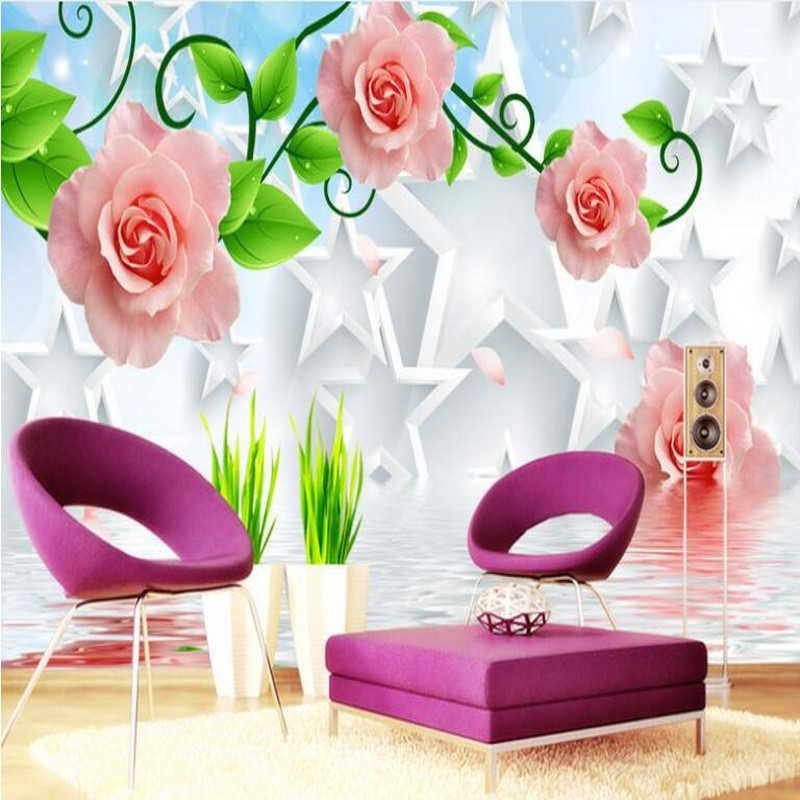 beibehang Custom large - scale murals rose reflection 3D five - pointed star TV background wall wallpaper papel de parede