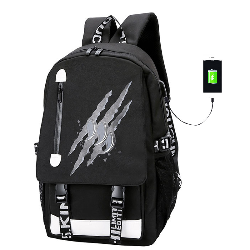 Luminous Design Satchel School Bag For Boys USB Charge High School Collage Teenager Backpack Large Mochila With Anti-theft Lock