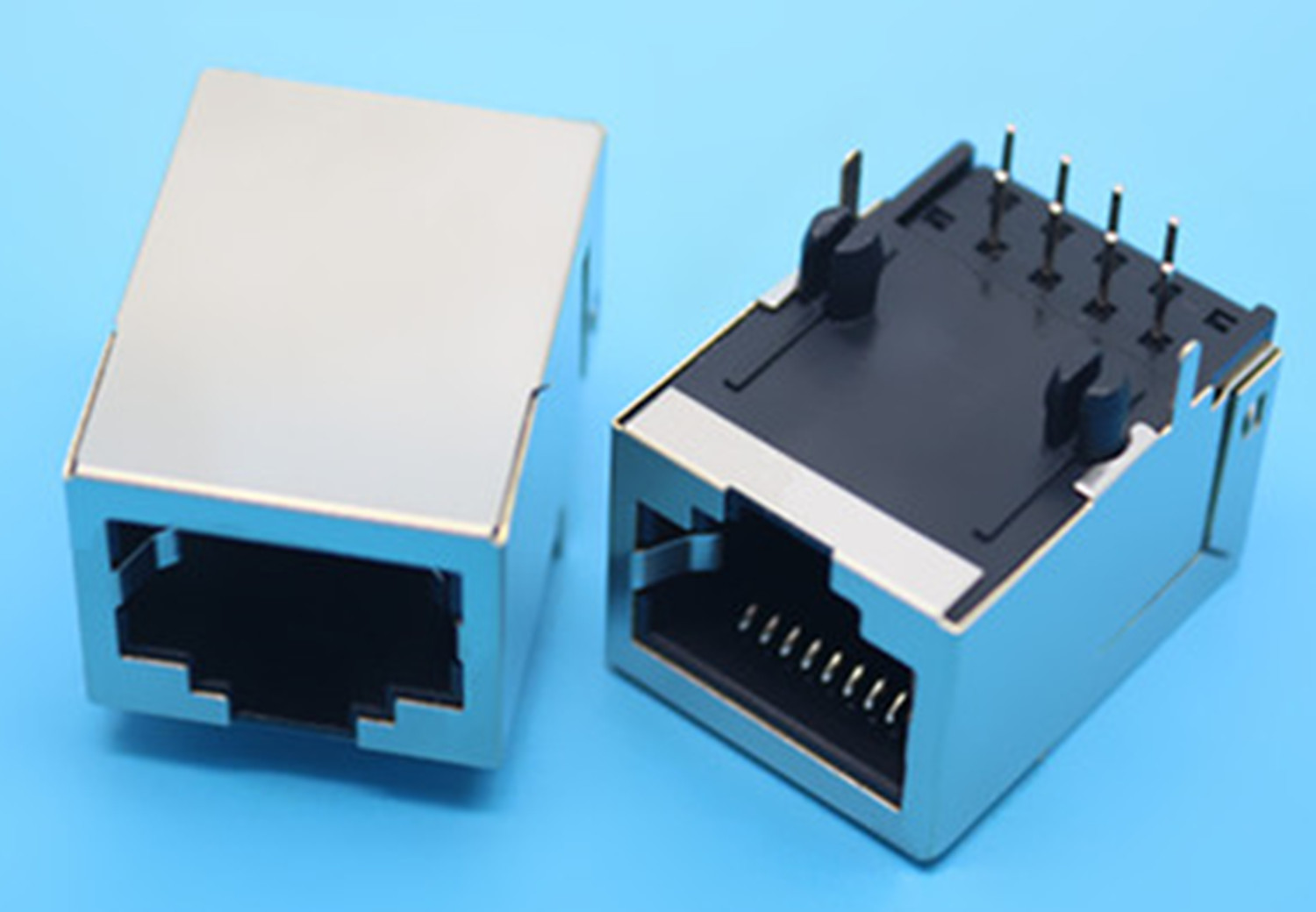 2PCS RJ45 Socket 90-Degree Right Angle PCB Shielded Network Connector Long Body Rear 2pcs 90 degree up