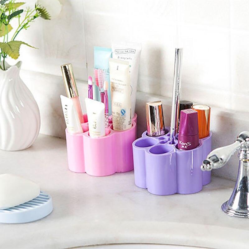 Candy Color Cosmetics Storage Box 4 Plum Blossom Type Desk Dresser Toothbrush Holder Bathroom Accessories Sets