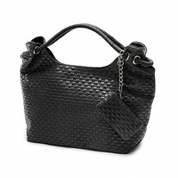 Wholesale Price 2014 Spring Summer Woven PU Women Handbag Metal Chains New Colors Multi Color Hand