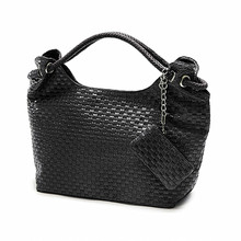 Casual Women Handbag and Purse Shoulder Bags Hobos Weave Leather Bag Female Bolas Tote Beige Black Plaited Bolsas Femininas