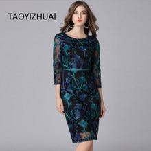 TAOYIZHUAI 2019 New Arrival Spring Vintage Dress Three Quarter Knee Length Plus Size Pattern Embroidery Women Lace Dress 16133