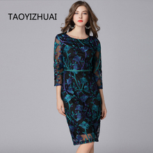 TAOYIZHUAI 2019 New Arrival Spring Vintage Dress Three Quarter Knee Length Plus Size Pattern Embroidery Women Lace Dress 16133