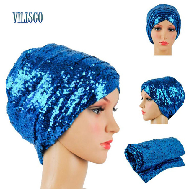 Multi-colored Headwear Sequin Turban African Headwrap African Headties Sego Gele Head Tie for Women Party Winter Headscarf XH05