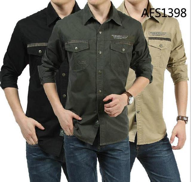 Los nuevos hombres camisa de manga Larga 100% Algodón Camisas Casuales Militar Del Ejército Al Aire Libre Camisa Masculina envío libre