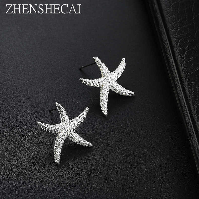 Starfish Earrings With Black Silver Color Alloy Stud Earring For Woman Fashion Jewelry Party brincos femin gift Dropshiping