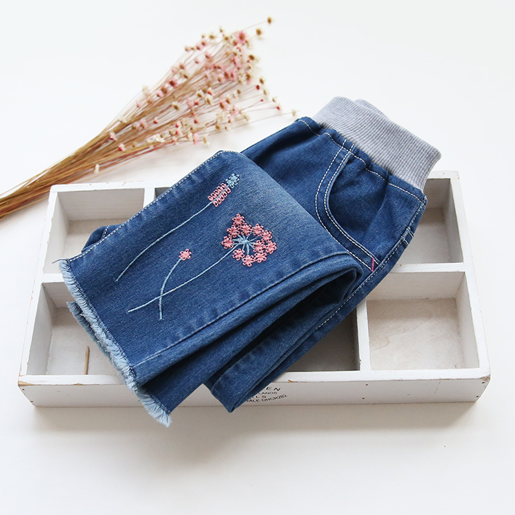New Arrival Baby Girls Casual Denim Jeans Girls Embroidery-flower Jeans Kids Spring Autumn Jeans Kids High Quality Long Pants bazaleas spring autum pockets straight denim jeans women bottom flower birds embroidery jean female blue casual pants