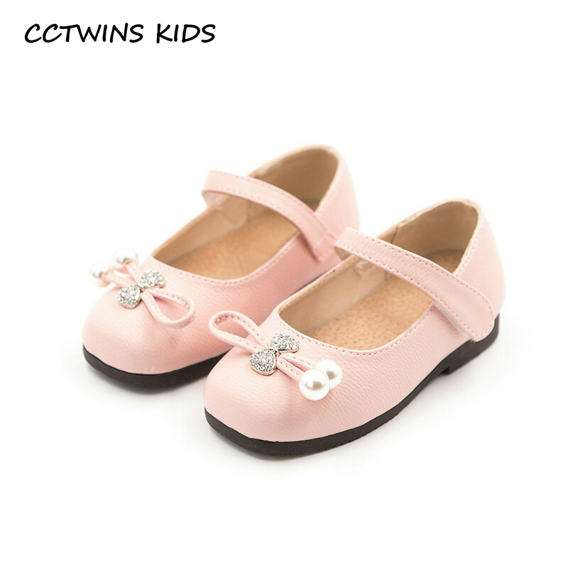 CCTWINS KIDS 2018 Spring Children Pearl Party Shoe Baby Girl Rhinestone Mary Jane Toddler Genuine Leather Bow Flat G1937