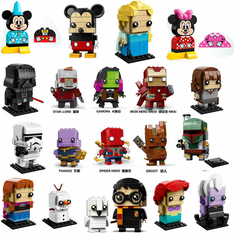 NEW Brickheadz Marvel Avengers DC Super Heroes Star Wars Princess Model Building Block Bricks Toys Compatible With