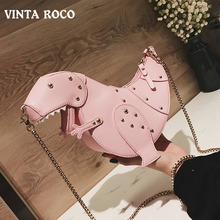 Vintaroco Kawaii Cute Rivet Leather Crossbody Shoulder Mini Dinosaur Design Bag Women Chain Purse Female Bag for Girls Gift 2019 цена