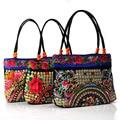 2015 Новые Национальные Этнические Повседневная кружева вышитые сумки деревянный шарик вышивка сумка случайные ткань сумки
