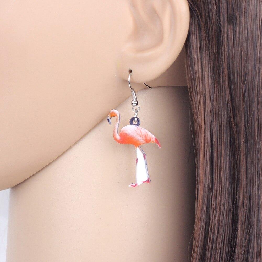 Acrylic Elegant Flamingo Bird Earring Long Drop Dangle For Women Fashion Jewelry